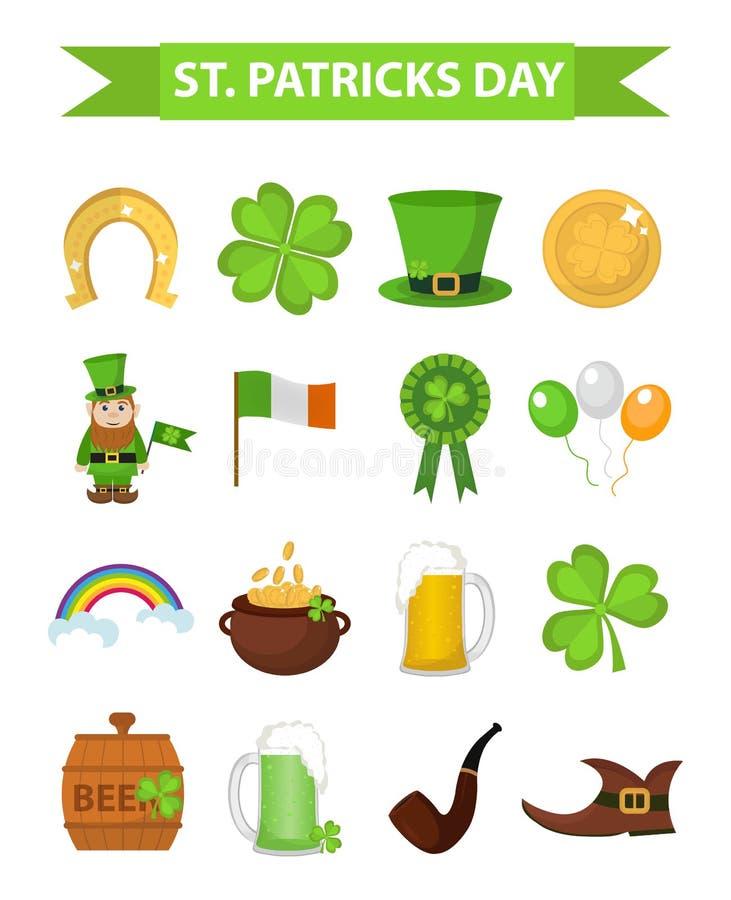 St Patricks vastgesteld het ontwerpelement van het Dagpictogram Traditionele Ierse symbolen in moderne vlakke stijl Geïsoleerdj o stock illustratie