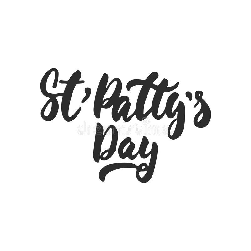 St` Patty`s Day - hand drawn lettering phrase for Irish holiday isolated on the white background. Fun brush ink inscription for ph royalty free illustration