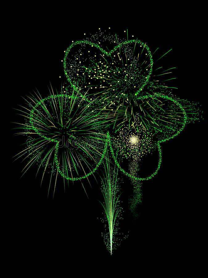 St. Patty's fireworks display stock illustration