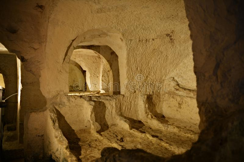 St. Paul`s Catacombs in Malta. St. Paul`s Catacombs are the largest complex of interconnected, underground Roman cemeteries in Malta royalty free stock photography
