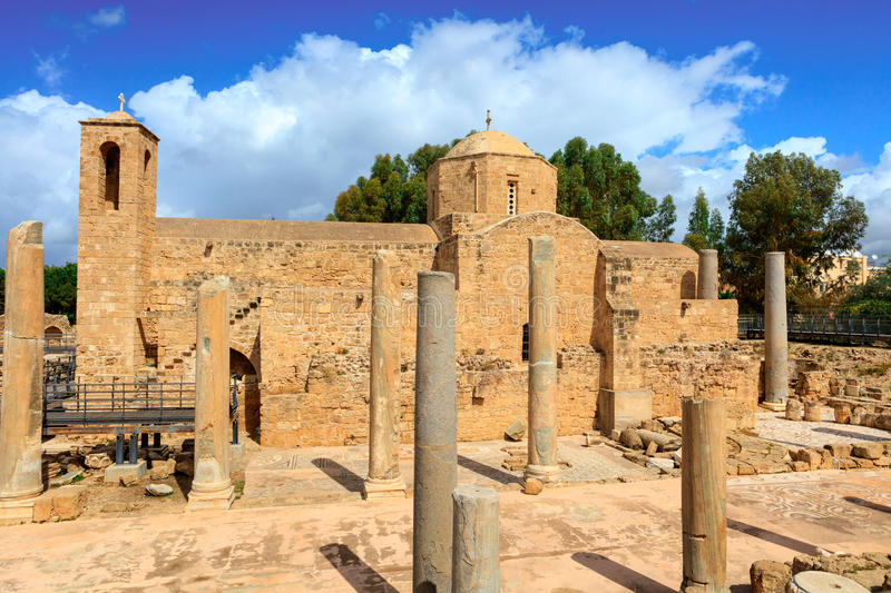 St. Paul's Catholic Church in Paphos, Cyprus. The Panagia Chrysopolitissa church was built in the 13th century over the ruins of the largest Early royalty free stock photography
