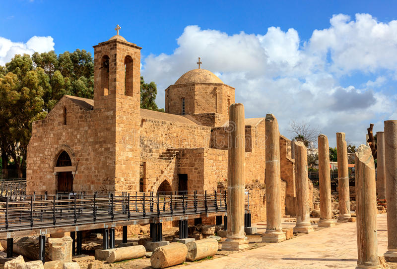 St. Paul's Catholic Church in Paphos, Cyprus. The Panagia Chrysopolitissa church was built in the 13th century over the ruins of the largest Early stock image