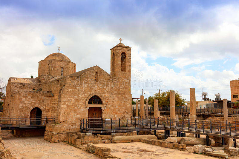 St. Paul's Catholic Church in Paphos, Cyprus. The Panagia Chrysopolitissa church was built in the 13th century over the ruins of the largest Early royalty free stock photo