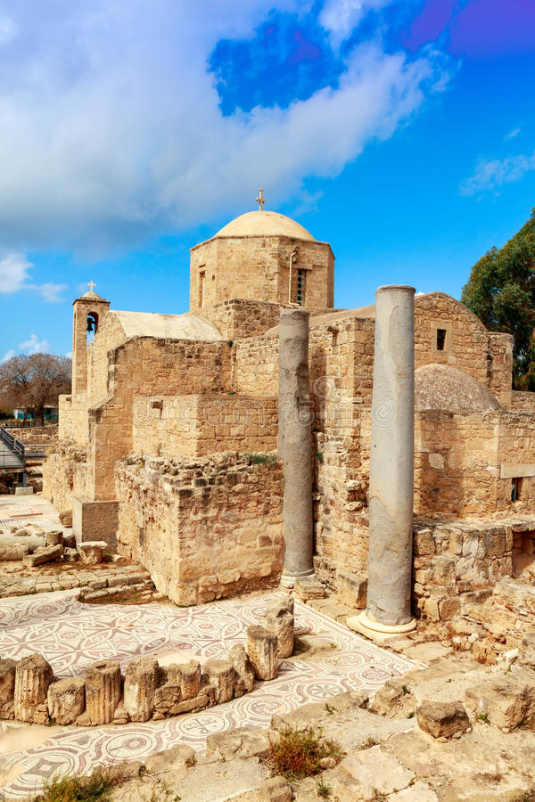 St. Paul's Catholic Church in Paphos, Cyprus. The Panagia Chrysopolitissa church was built in the 13th century over the ruins of the largest Early royalty free stock image