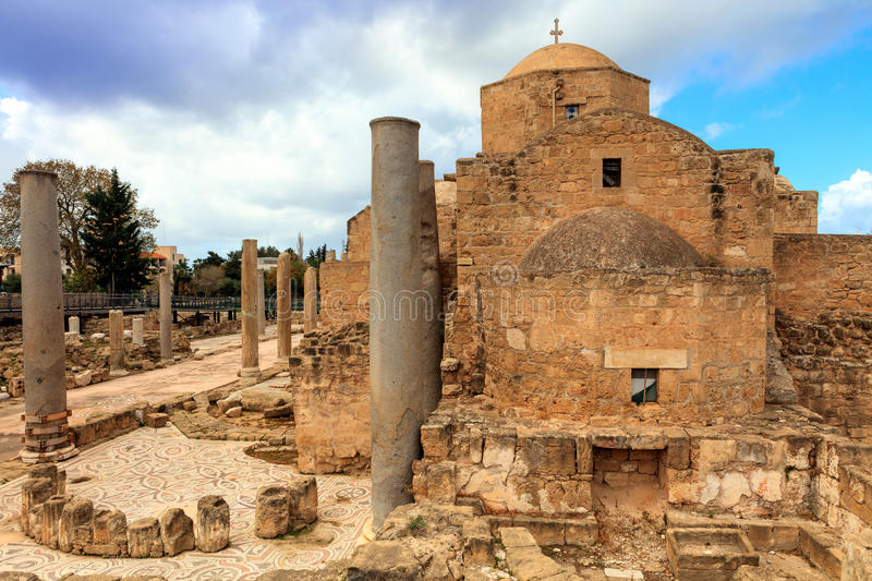 St. Paul's Catholic Church in Paphos, Cyprus. The Panagia Chrysopolitissa church was built in the 13th century over the ruins of the largest Early stock images