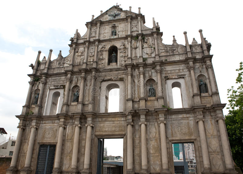 St. Paul�s Church Ruins Macau. Sam Ba Sing Tzik is the remaining front wall of the ruins of St Paul's church in Macau royalty free stock images