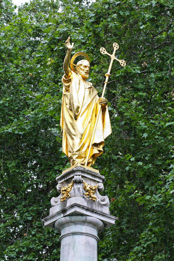 St. Paul. Golden St. Paul statue monument in London stock images