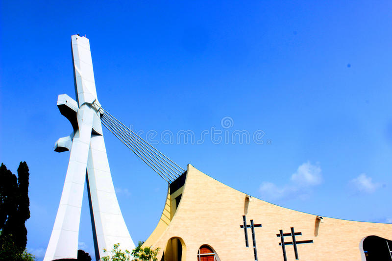 ST PAUL OF ABIDJAN CATHEDRAL, SAINT PLACE. Very beautiful view of the Cathedral of St. Paul of the Archdiocese of Abidjan built at the time by the Italian royalty free stock images