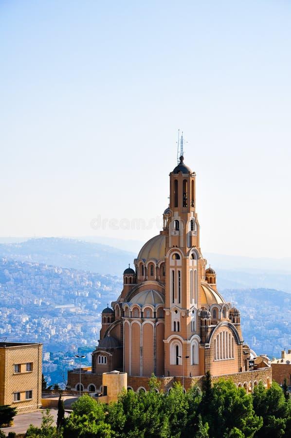 St Paul Basilica em Harissa perto de Beirute em Líbano foto de stock