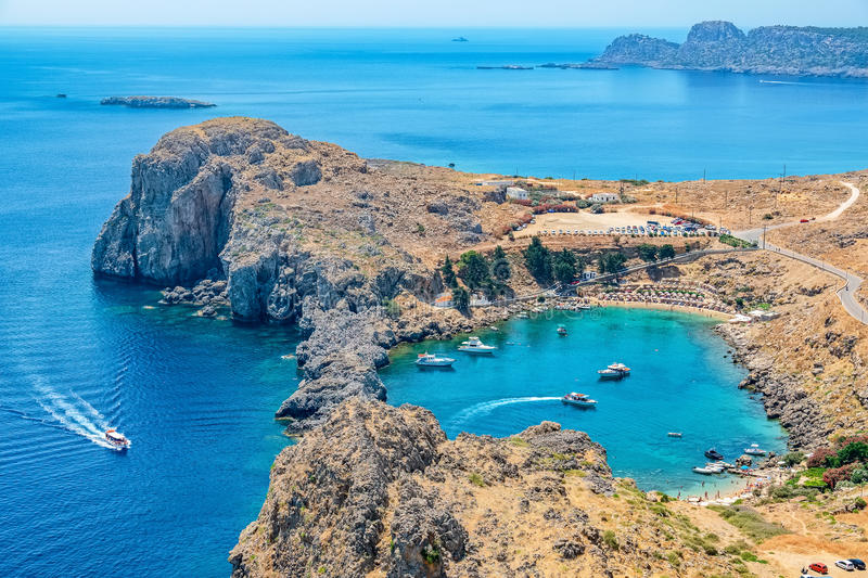St Paul Bay. Lindos, Rhodes, Greece. View of Saint Paul's Bay from the Acropolis. Lindos, Rhodes, Greece stock images