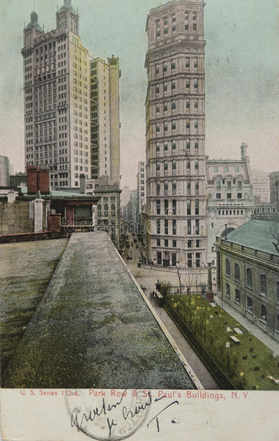 St Paul building in New York 1905 stock image