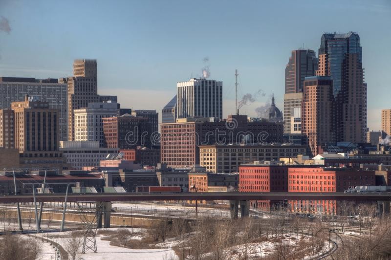St. Paul is the Capitol of, and Major City in, the State of Minn stock images