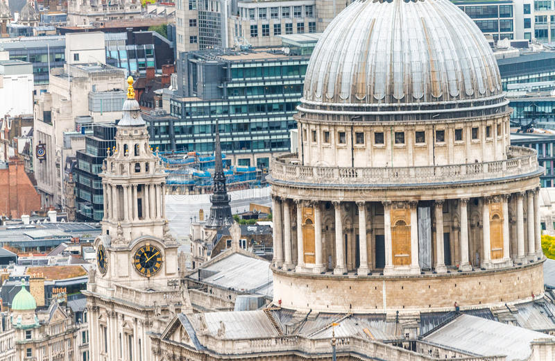 St Paul Cathedral facade, London aerial view royalty free stock photo
