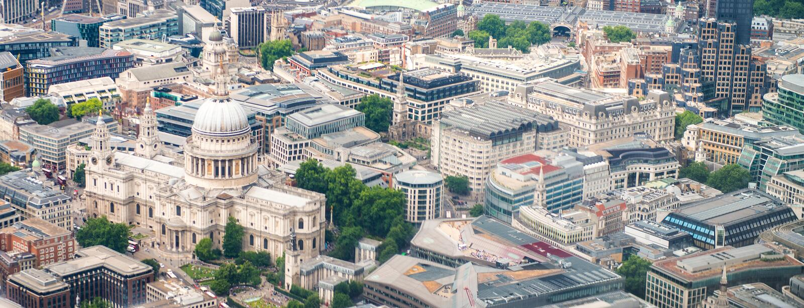 St Paul Cathedral from helicopter, London - UK royalty free stock photo