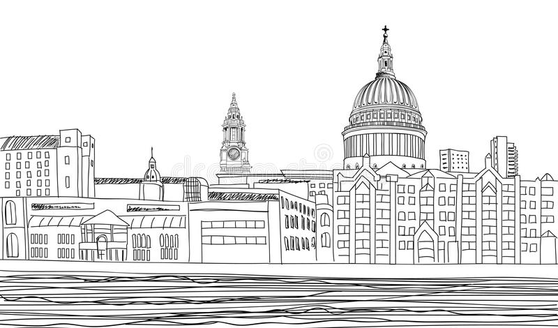 St. Paul Cathedral, London, UK. Cityscapebakgrund. stock illustrationer