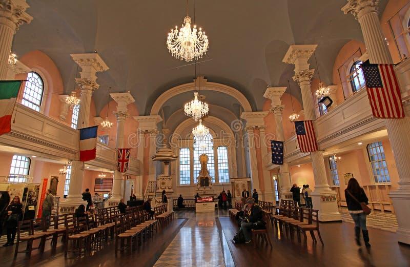 St.Paul Chapel inside, New York, USA. Saint Paul Chapel interior, New York City, United States of America, December 2015 royalty free stock photos