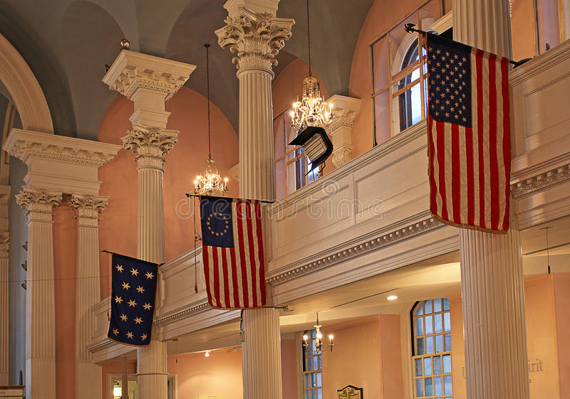 St.Paul Chapel inside, New York, USA. Saint Paul Chapel interior, New York City, United States of America, December 2015 stock photography