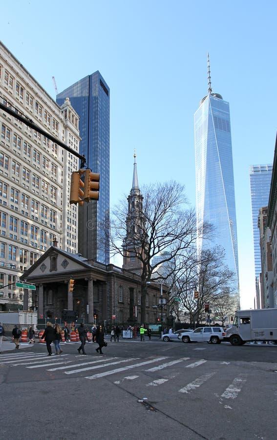 St.Paul Chapel, New York, USA. Saint Paul Chapel near World Trade center in New York City, United States of America, December 2015 stock images