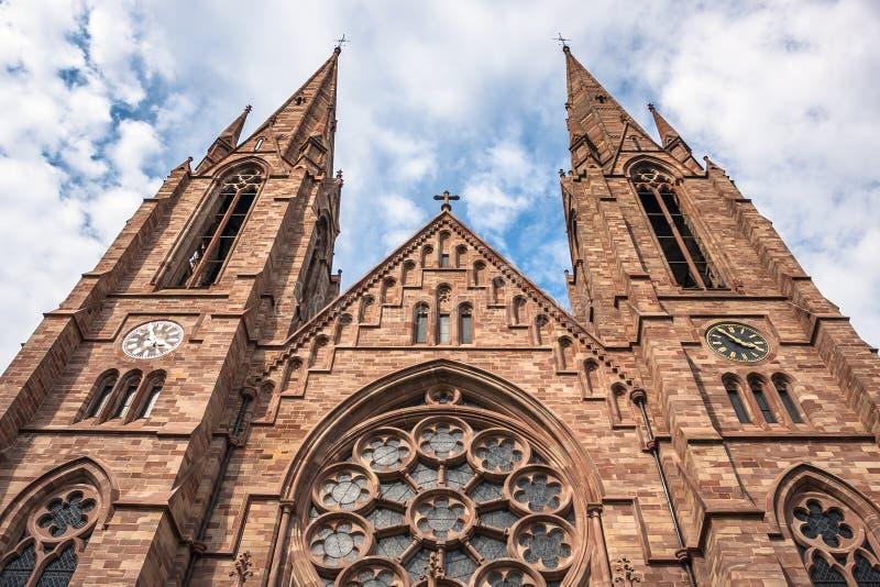 St Paul Church dal fiume malato a Strasburgo, l'Alsazia immagine stock