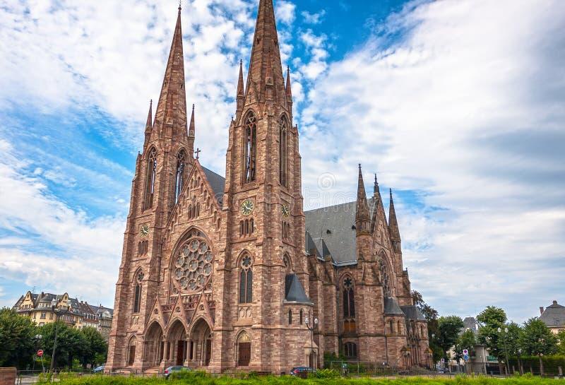 St Paul Church van de Zieke rivier in Straatsburg, de Elzas stock afbeelding