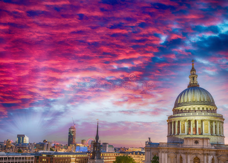 St Paul Dome Cathedral in London, view at sunset.  royalty free stock photos