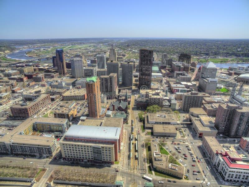 St Paul is het Capitool van de Staat van Minnesota van door Hommel hierboven wordt gezien die royalty-vrije stock afbeelding