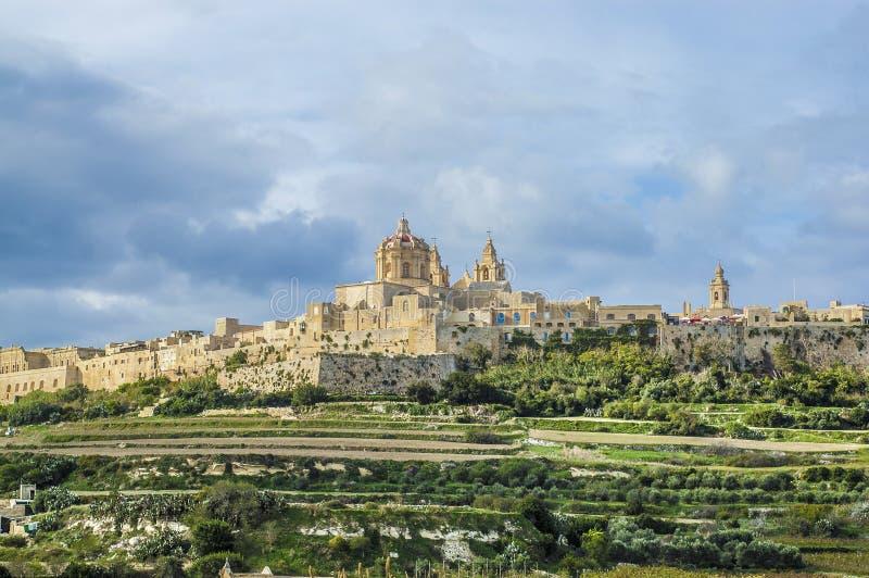 St Paul Kathedrale in Mdina, Malta lizenzfreies stockbild