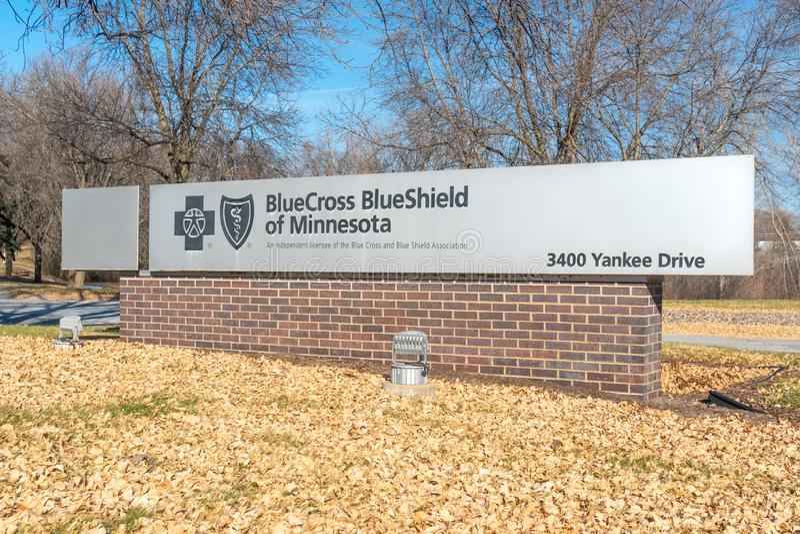 Blue Cross BlueShield Minnesota Campus Entrance and Logo stock photography