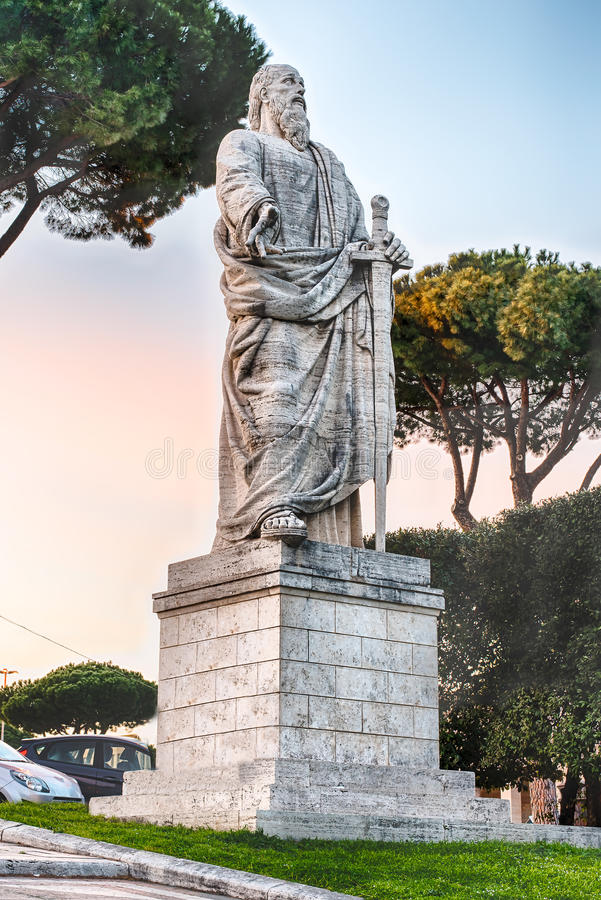 St Paul Monument, EUR district in Rome, Italy. St Paul Monument in front of the Church of Santi Pietro e Paolo, EUR district, Rome, Italy royalty free stock photo
