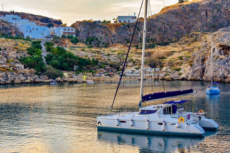 ST Paul`s bay,and horizon Aegean sea. LINDOS,RHODES/GREECE NOVEMBER 1 2018 : ST Paul`s bay,and horizon Aegean sea stock images