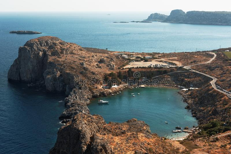 St. Paul`s bay in Lindos, Rhodes, Greece stock image
