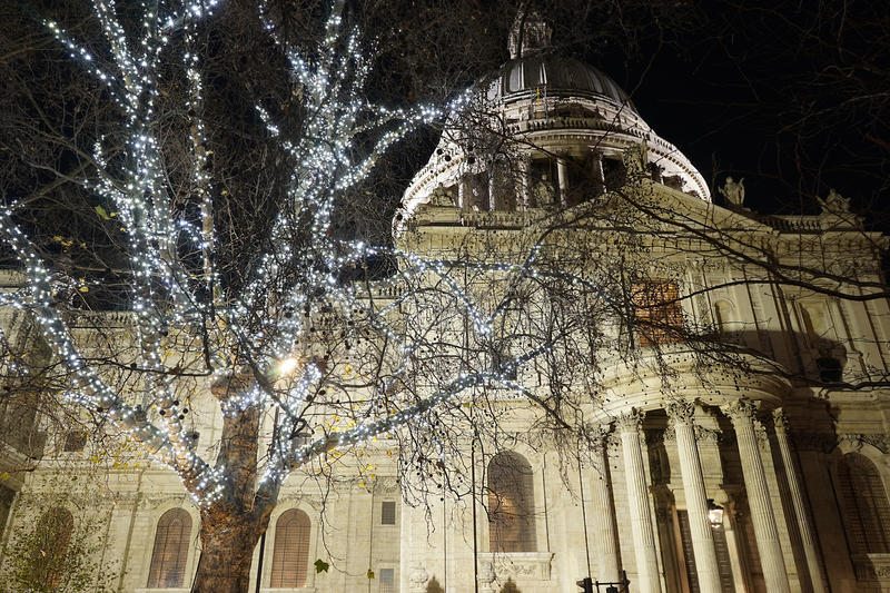 St Paul's Cathedra with Christmas Decoration royalty free stock photo