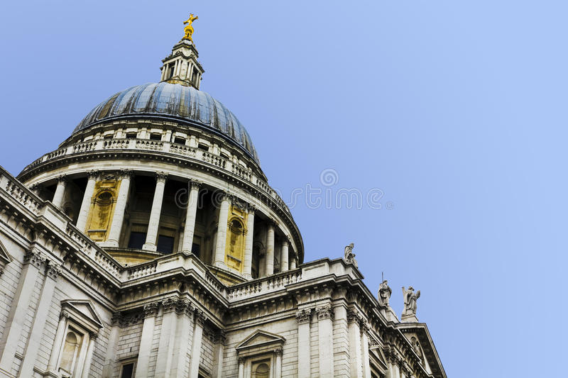 St Paul's Cathedral. Dome of St Paul's Cathedral. Clear sky for copy space royalty free stock photos