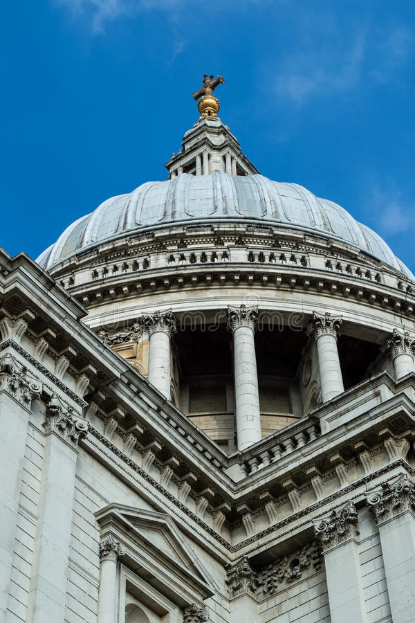 St Paul's Cathedral dome low angle. LONDON - 04 OCT 2015: St Paul's Cathedral dome low angle stock photography