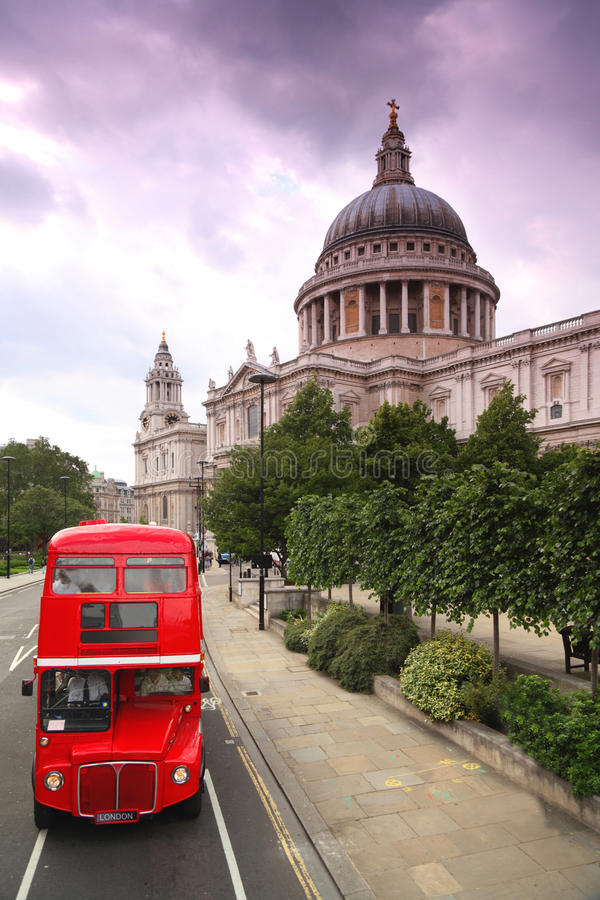 Download St. Paul's Cathedral And Double-decker Stock Image - Image of kingdom, london: 17413311