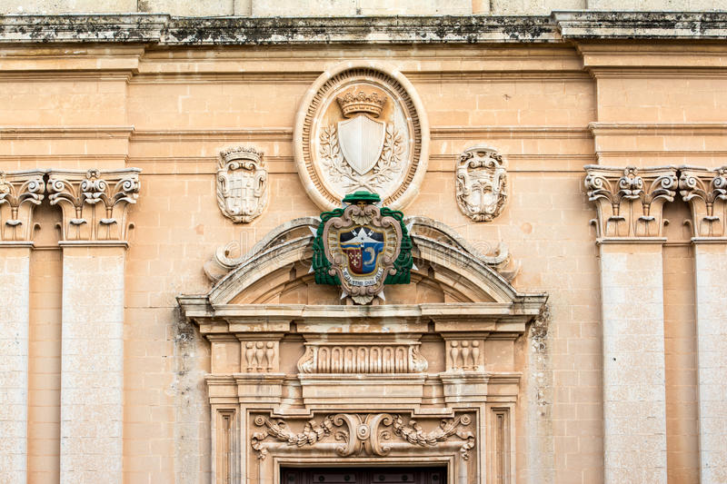 St. Paul's Cathedral-entrance, Mdina, Malta. royalty free stock image