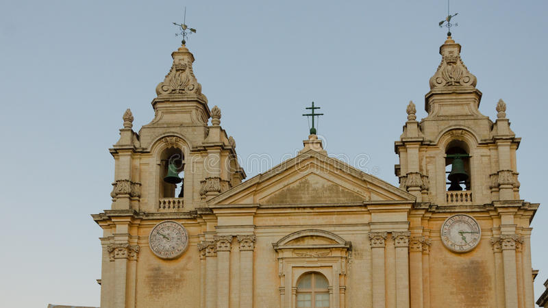 The St. Paul's Cathedral in Malta's old capital Mdina in late afternoon. Mdina,MALTA -CIRCA OCTOBER, 2015- The St. Paul's Cathedral in Malta's old capital Mdina stock photography