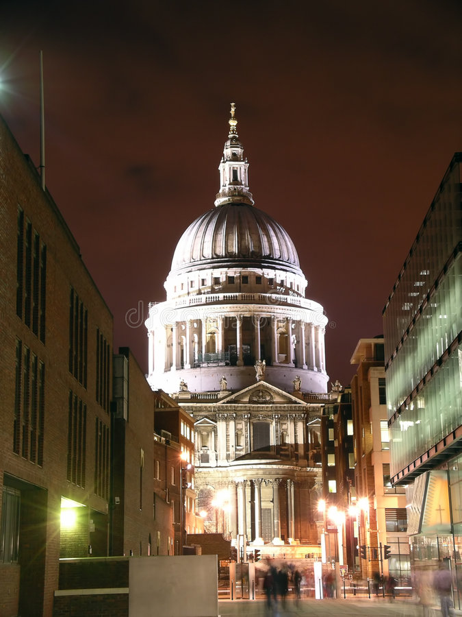 St Paul's Cathedral at night stock photography