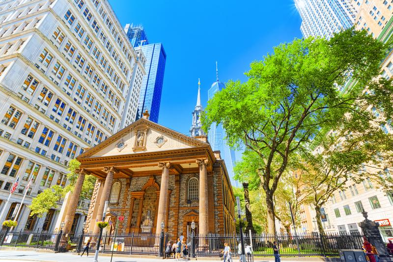 St. Paul`s Chapel of Trinity Church Wall Street. Financial capit stock images