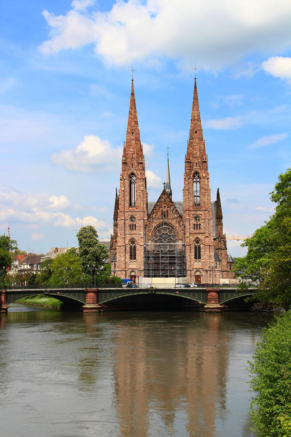 St. Paul's Church and Ill river, Strasbourg, France. St. Paul's Church (Eglise Saint-Paul de Strasbourg) and Ill river in Strasbourg, France stock image