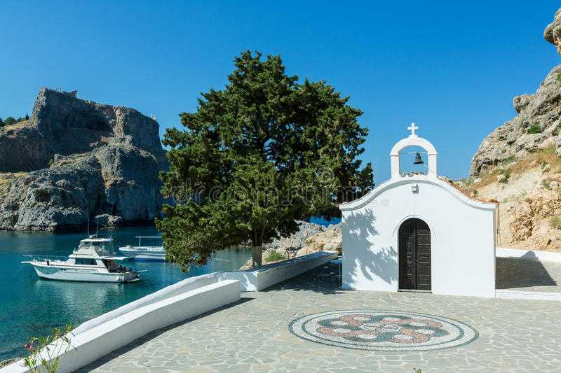 St Paul`s church in Lindos , Rhodes, Greece. St Paul`s church in a St Paul`s bay in Lindos , Rhodes, Greece royalty free stock image