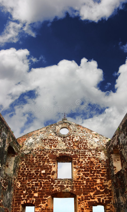 Download St.Paul's Church Ruins Under Blue Sky Stock Photo - Image: 6058444