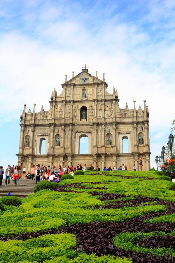 St Paul s Ruins, iconic church in Macau, China. Ruins of St Paul Church, iconic portugese landmark of Macau, South China - Asia's greatest monument to royalty free stock image