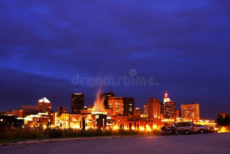St. Paul Skyline bij Nacht royalty-vrije stock foto