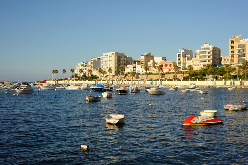 St. Pauls Bay, Malta. Bugibba harbour stock images