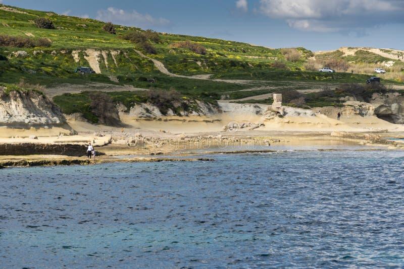 St Pauls Bay Malta de la playa de Mellieħa imagen de archivo libre de regalías