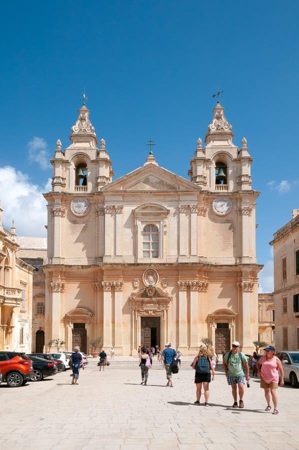 St Pauls cathederal, Mdina, Мальта стоковое изображение rf