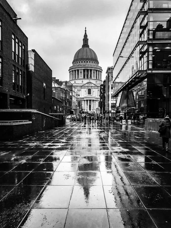 St Pauls Cathedral Heavy Rain London royaltyfri foto