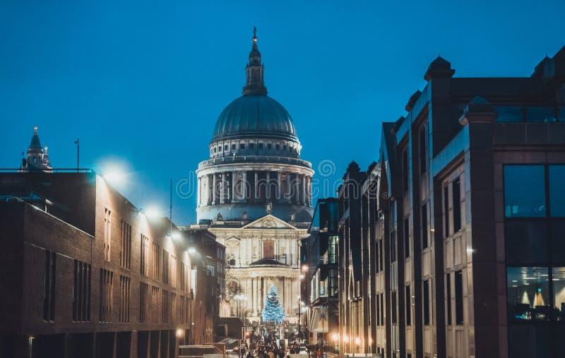 St Pauls Cathedral at night during the Xmas season stock photo