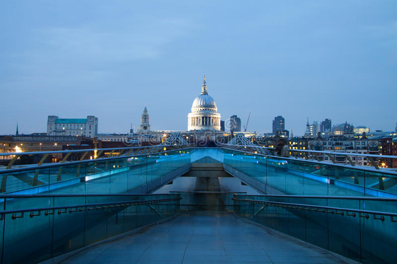 St Pauls cathedral view from the Millennium Bridge, London. England royalty free stock photography